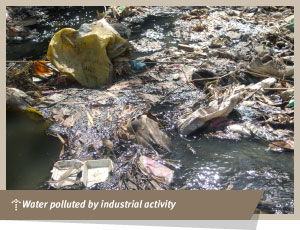 Water polluted by indistrial activity
