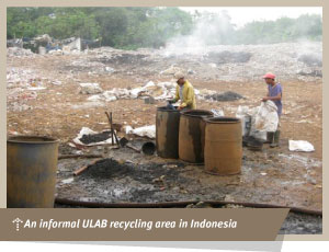 an informal ULAB recycling area in Indonesia