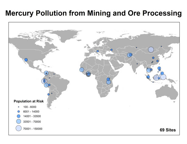 world map of mercury mining pollution