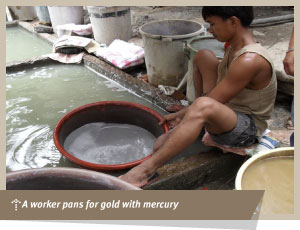 panning for gold using mercury