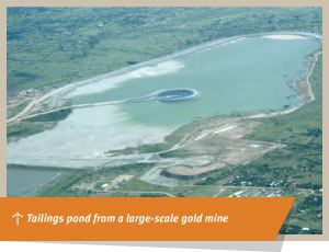 Tailings pond from a large-scale gold mine